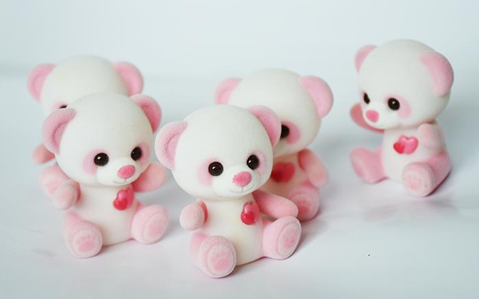 白+粉脚印爱心熊